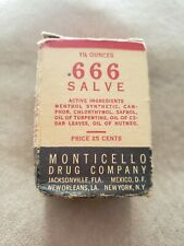 Super Rare Nib Vintage 666 Salve 1.5 oz jar & Original Box Monticello Drug Co