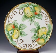 LIMOGES Fruit and Gold Gilt Hand Painted Porcelain Plate