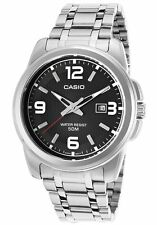Casio Men's Silver-Toned Stainless Steel Quartz Watch w/ Black Dial MTP1314D-1AV