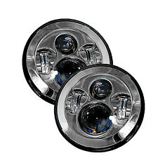 "Jeep Wrangler Chrome 7"" Round LED Headlights -(2) Anti-Flicker Harnesses Incl."