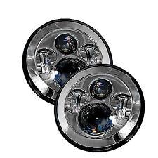 "Jeep Wrangler Chrome 7"" Round LED Headlights -(2) Anti-Flicker Harnesses Incl."