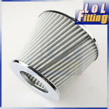 """Silver 2.5"""" inch 63mm Cone Mesh Gauze Short Ram Cold Air Intake Turbo Filter"""