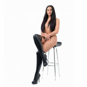 Sexy Latex Stockings Rubber Moulded Black Tight Lingerie S M L 8 10 12 14 UK STK