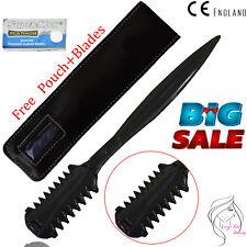Black HAIR SHAPER-THINNING LAYER HAIR CUTTING-RAZOR STEEL COMB + 5 RAZOR BLADES