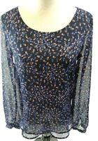 Lauren Conrad Womens Shirt Blouse Size Small Blue Floral