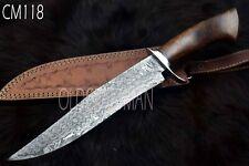 """14.5""""Custom Handmade Damascus Steel Hunting SKINNER Knife Rose Wood Handle CM118"""