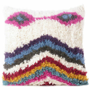 """20"""" Pink Blue Pillow Woven Tufted Shag Wool Embroidered on Cotton Cushion Cover"""