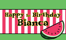 """18""""x30"""" Watermelon Theme Personalized Birthday Party Banner"""
