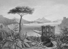 ITALY Bay of Naples Vesuvius Catania Coast - 1860 SCARCE Print Multiple Views