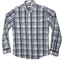 Express Men Large White Checkered Plaid Long Sleeve Button Up Dress Shirt Fitted