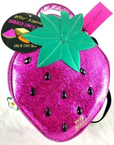 Betsey Johnson Strawberry Lunch Tote Crossbody Insulated Cooler Bag Pink Kitsch
