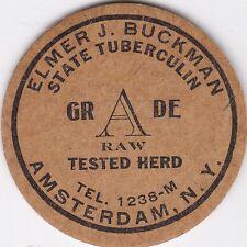 MILK BOTTLE CAP. ELMER J. BUCKMAN. AMSTERDAM, NY. DAIRY