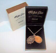 Rare Vtg Arpege 14K GP Solid Perfume Cameo Locket Necklace Orig Box Royale Gems