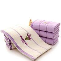 2Pcs Lavender Pattern Soft Cotton Face Towel for Adults Super Absorbent Towels