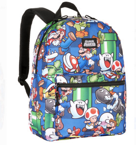 "Nintendo Super Mario Bros. All Over Print 16"" Backpack School Book Bag Tote"