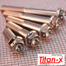 M12x1.25 pitch Titanium Drilled Head Hex Flange Bolt, length 35mm to 120mm