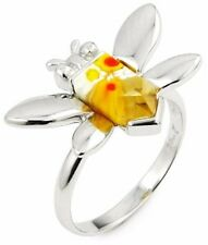 ALAN K. MULTICOLOR FACETED MURANO GLASS YELLOW FACETED BEE & ST/SILVER RING,SZ 6