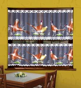 KITCHEN CAFE NET CURTAIN - PHEASANT - SOLD BY METERS - TWO SIZES