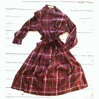 Vintage Made in Italy Christian Aujard silk plaid dress, 80's, size 40 Italian