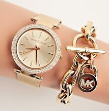 Original Michael Kors Watch Women's Watch MK3368 Darci Meshband Colour: Gold New