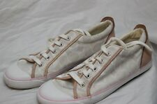 COACH Sneaker Womens Size 8.5 M Flats Canvas Athletic Lace up Tan/White