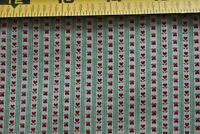 By 1/2 Yd, Vintage, Red Hearts, Green Stripes on White Quilt Cotton, N6378