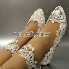 su.cheny Light ivory white pearls flats ballet Wedding shoes Bridal size 5-12