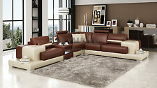 Modern Large LEATHER SOFA Corner Suite NEW Brown & Beige