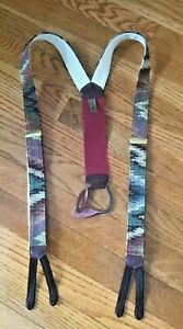 Trafalgar Suspenders    Tapestry Material Brown Green Tan Mens
