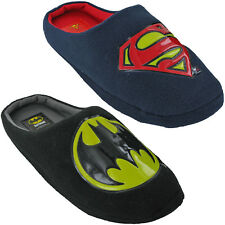 Batman Superman Velour Mule Slippers Novelty DC COMICS Mens Slip On Warm Fun