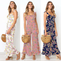 Womens Rompers Jumpsuit Backless Playsuit Flower Dresses Ruffle Chiffon Trousers
