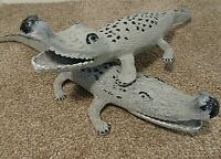 Vintage Pair of Crocodile Shaped Cast Iron Studies with Opened Mouths (Scales)
