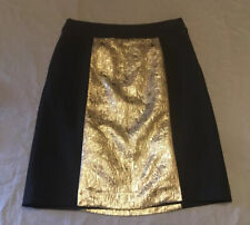 NWT Magaschoni black knit skirt with gold metallic brocade size 6