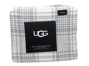 "UGG 100% Cotton Flannel 4 Piece Sheet Set Grey Plaid Queen $100 15"" Deep Pocket"