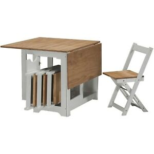 Seconique Santos Butterfly Folding Dining Set in Grey & Pine with 4 Dining Chair