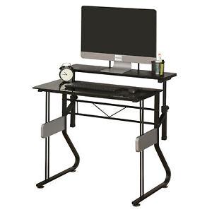 HOMCOM Computer Desk Height Adjustable Laptop Table Home Office Workstation
