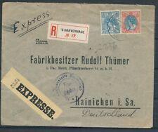 12½+25 CT.63 EN 71 OP R-EXPRESSE ENV. 'S GRAVENHAGE 24.XI.1917 -HAINICHEN  Zj519