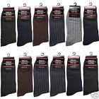 New 12 Pairs Mens Ribbed Dress Socks Fashion Casual Multi Color Black Size 10-13