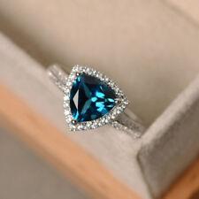 Trillion 2.05 CT Citrine Gemstone Diamond Rings 14kt White Gold Ring Size  M O N