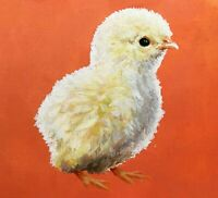 ORIGINAL Chicken Chick Painting RRP £120 - British Handmade Animal Bird Art
