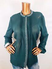 Venus 14 or L/XL Top Sheer Long Sleeves Button Down Shirt Gems Studs Blouse Pine