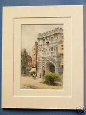CHRIST CHURCH GATE CANTERBURY CATHEDRAL PRECINTS VINTAGE DOUBLE MOUNTED PRINT