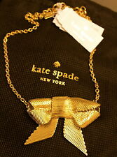 NWT Kate Spade All Wrapped Up Bow Pendant Necklace SOLD OUT GOLD ADORABLE!