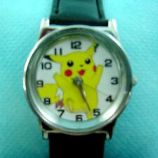 LATEST Pokemon Pikachu Black Fashion Wrist Quartz Watch Wristwatch + Badge