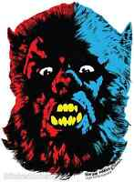 Mini Size Wolfman Monster Head STICKER Decal Ben Von Strawn BV32B Werewolf