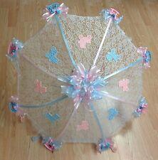 "32"" White Lace baby shower umbrella PINK & BLUE rocking horses, rattles buggies"