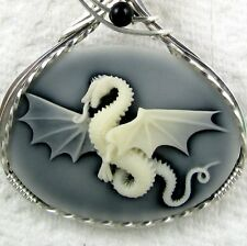 Dragon Cameo Pendant .925 Sterling Silver Jewelry Onyx Gray Resin