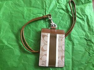 NEW COACH Brown Heritage Stripe Lanyard ID Holder/Case/Badge Holder  #61008