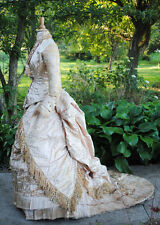 ANTIQUE DRESS c1875 WEDDING GOWN BUSTLE FLORAL SATIN BROCADE WITH LONG TRAIN