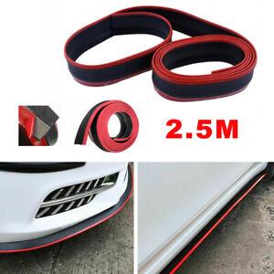 Front Bumper Lip Splitter Car Sticker Body Kit Spoiler Side Skirt Black Red 2.5M